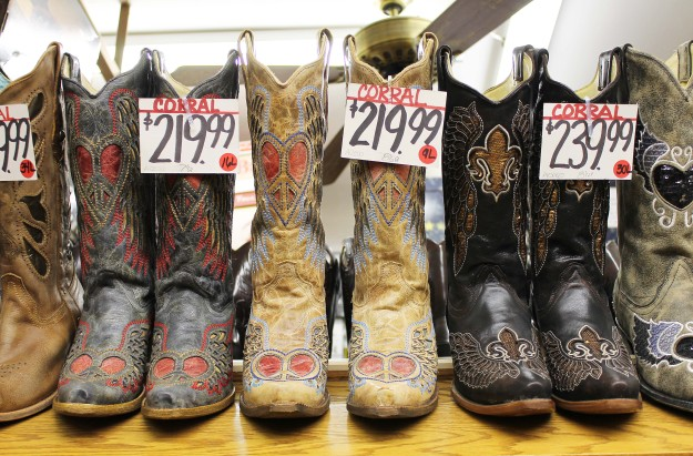 Cowboy boots at Nigro's Western Store in Kansas City