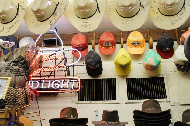 A selection of cowboy hats at Nigro's Western Store in Kansas City