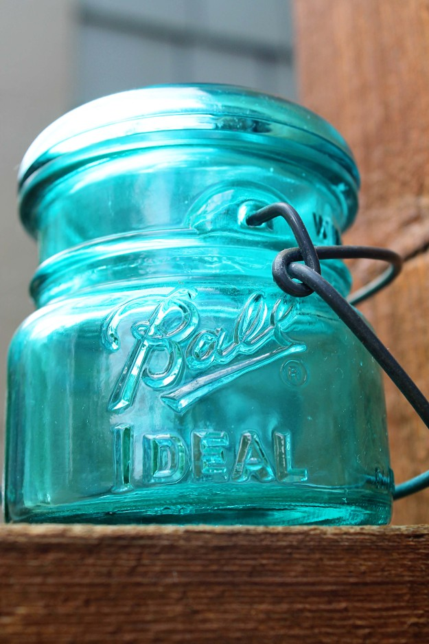 Small blue mason jar